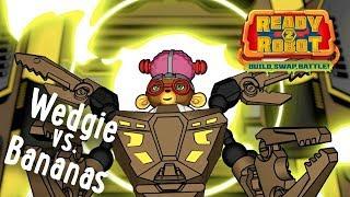 Ready2Robot | Slime Robot Battles | Episode 2: Wedgie vs. Bananas | Cartoon Webisode for Kids