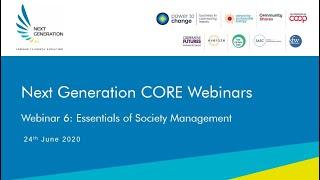 6. Essentials of society management. Next Generation Community Solar Webinars