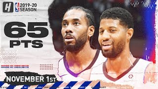 Paul George & Kawhi Leonard 65 Pts Combined Highlights   Wizards vs Clippers   November 20, 2019