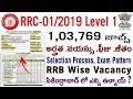 Railway RRC Level 1 CEN 01/2019 in telugu RRB Group D 1 lakh Vacancy Notification age qualification