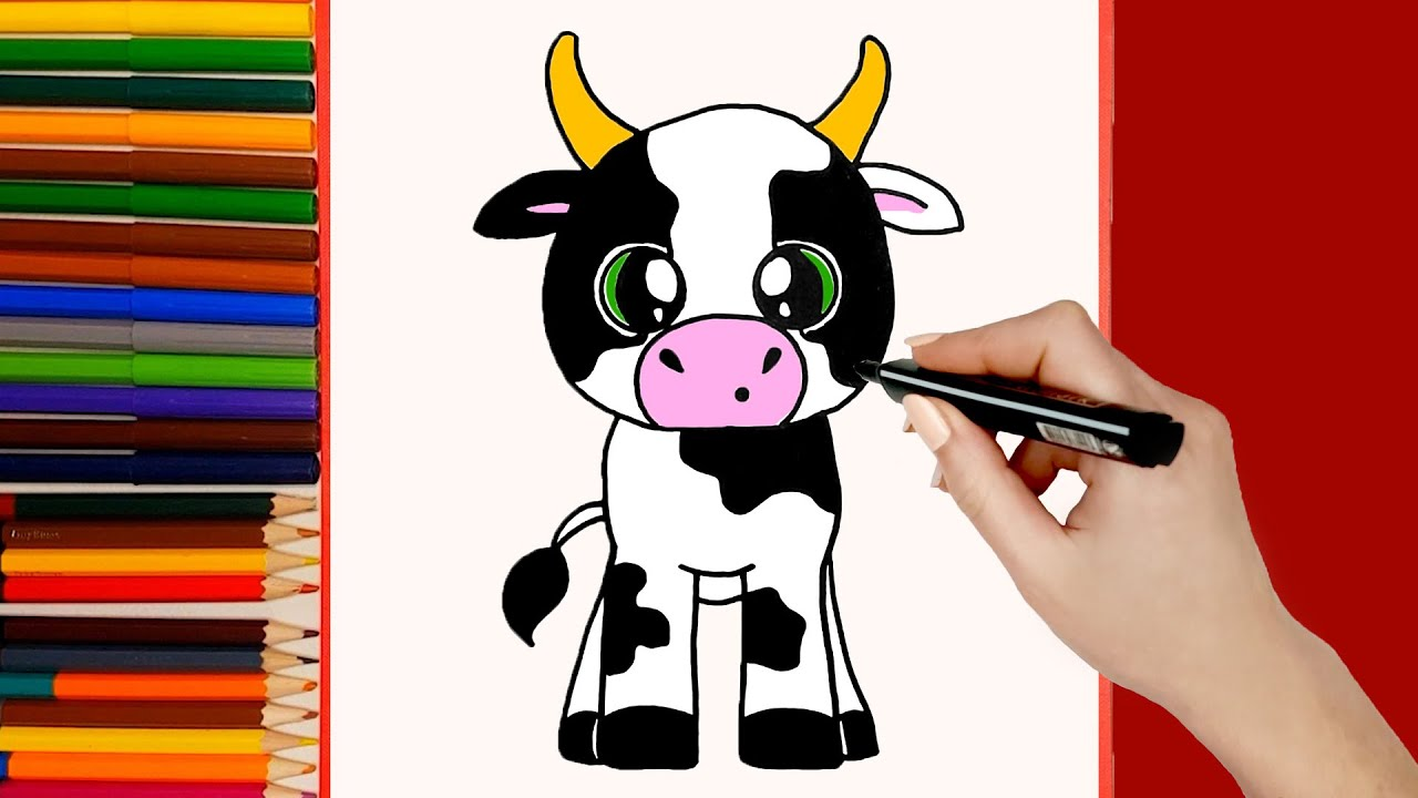 COMO DIBUJAR UNA VACA KAWAII  Como dibujar animales kawaii paso a paso