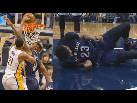 Thaddeus Young Dunks on Terrence Jones! Davis Injury Pelicans vs Pacers