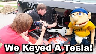 We Keyed A TESLA!!! (Jeffy's Car Accident BTS)