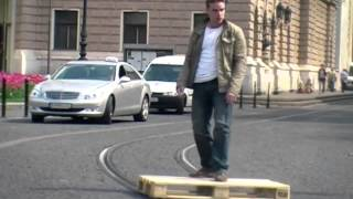 Amazing Pallet Skate on Tram Rails