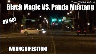 Mustang Loses Control! Black Magic Impala VS. Panda Mustang Street Race