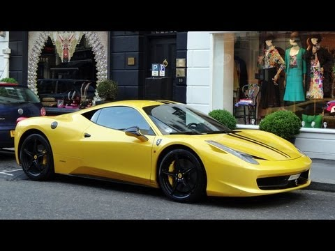 Yellow Ferrari 458 Italia in London - Cruising + Acceleration!