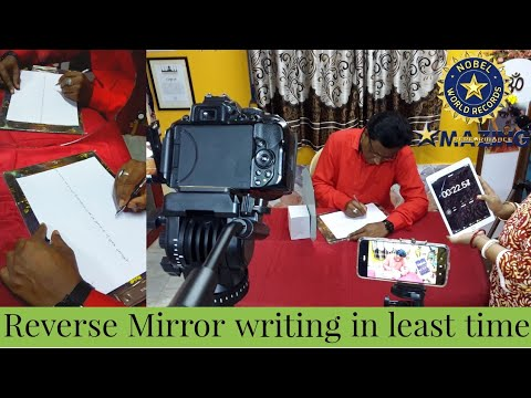 Reverse Mirror Writing in least time | Nobel World Records |