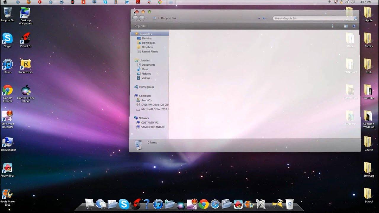 Complete Mac OSX Snow Leopard Theme on Windows 7