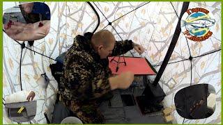 Зимняя рыбалка с ночёвкой на реке палатка и печка делают комфортным прибывание на льду
