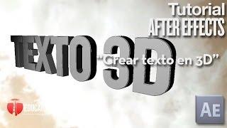 Crear texto 3d en After Effects CS 6 & CC - Tutorial After Effects