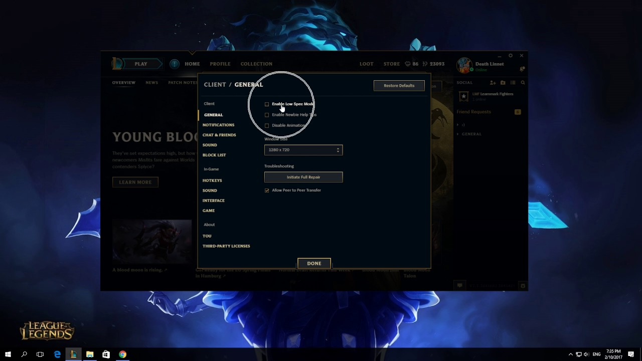 How To Enable Low Spec Mode In League Of Legends Client 2017 Youtube