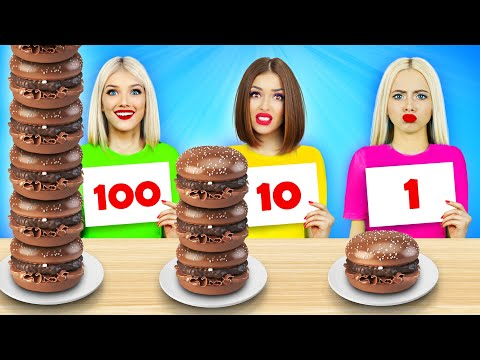 100 Layers of Chocolate Food Challenge | Sweet War for 24 Hours! Chocolate VS Real Food by RATATA