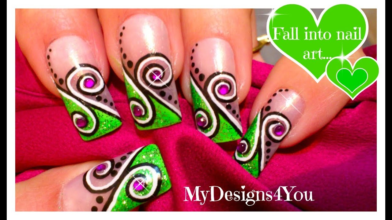 Abstract Nail Art Design Tutorial Green Swirl Nails Youtube