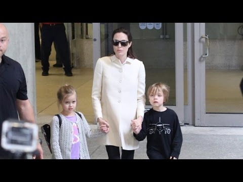 Angelina Is Asked About Sony Pictures Upon Returning To LA With Her Twins