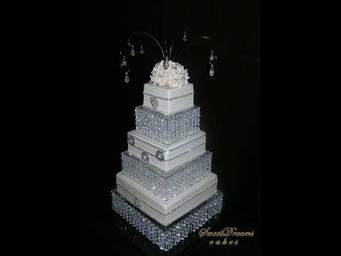 DIY crystal wedding cake stand. Cake stand chandelier.