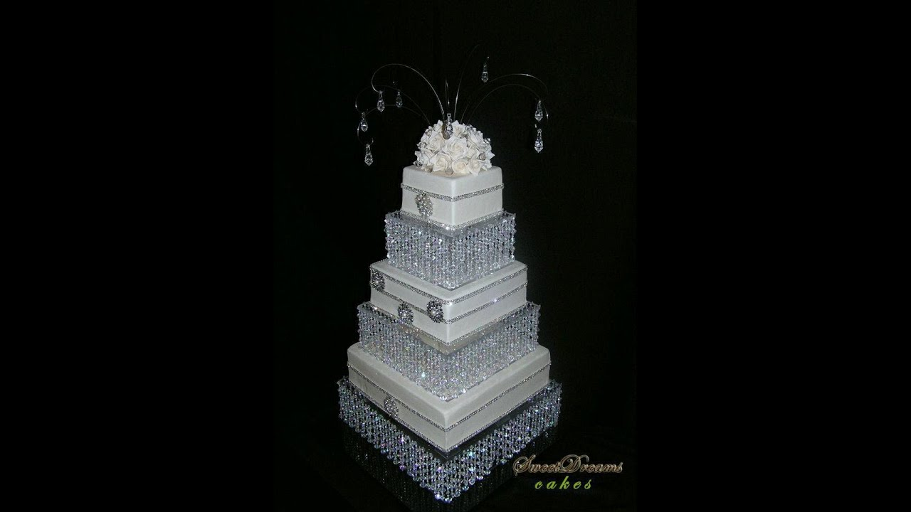 DIY crystal wedding cake stand. Cake stand chandelier. - YouTube