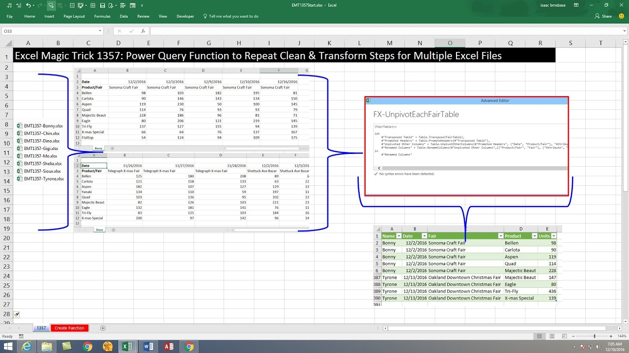 Excel Magic Trick 1357: Power Query Function to Repeat Clean & Transform  Steps for Many Excel Files