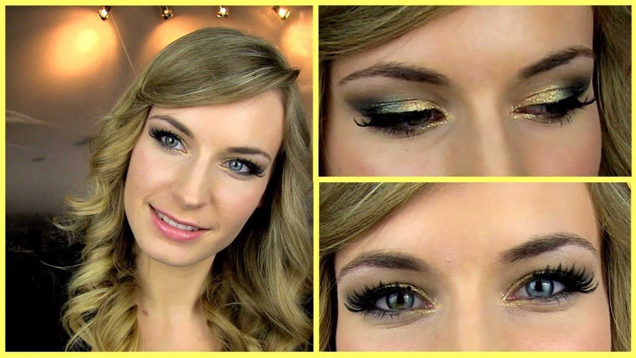 Prom Makeup Tutorial! Gold Green Smokey Eye + Glitter. Party Makeup.