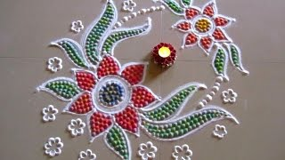 Dots rangoli | Recycling the used rangoli powder | Innovative rangoli designs by Poonam Borkar