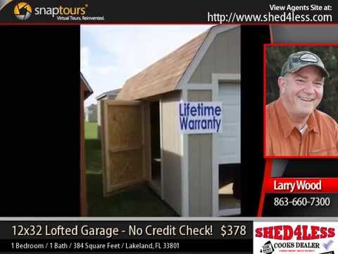 Shed4less 12x32 lofted garage rent to own lifetime for Sheds 4 less