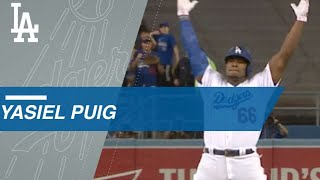Puig calls his shot on double, gets curtain call on homer in Game 1