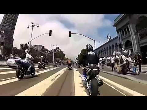 San Francisco sports motorcycle stunts! Hurricane racing party!Ignoring police!