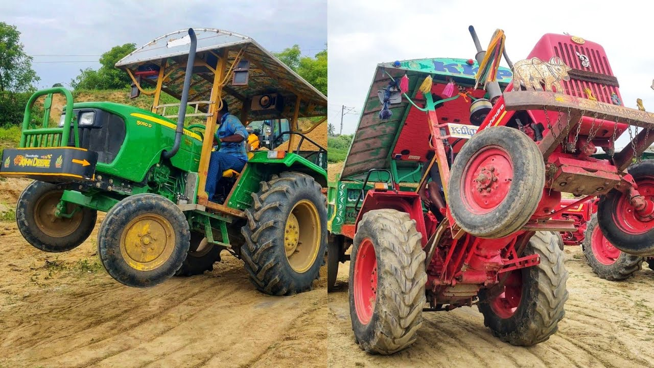 Mahindra tractor vs John Deere tractor stunt at ramp | jcb &Tractor Videos | Come to Village