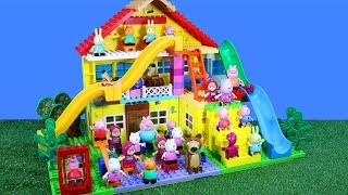 Peppa Pig Blocks Mega House Construction Lego Sets With Water Slide Creative Toys For Kids #6