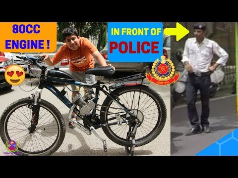 80CC ENGINE CYCLE MADE BY A 15 YEAR OLD KID | RIDING IN FRONT OF POLICE | REACTIONS |