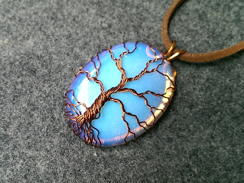 "pendant ""Tree of Life"" with big opalite no holes - Wire Wrapping stones 206"