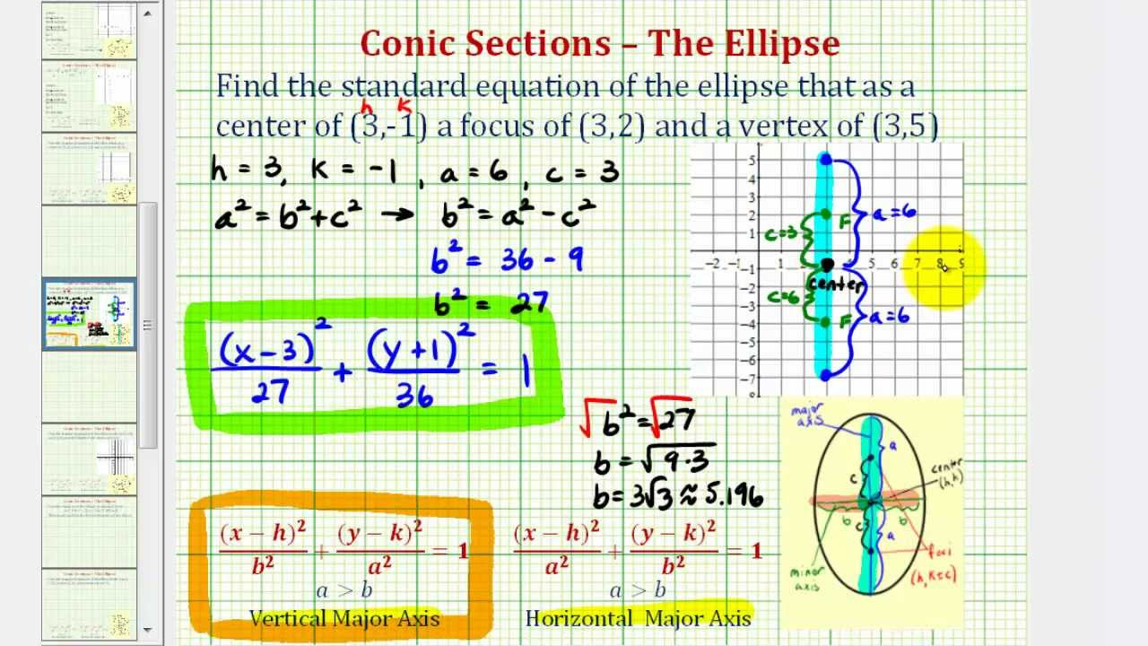 Ex find the equation of an ellipse given the center focus and ex find the equation of an ellipse given the center focus and vertex vertical falaconquin
