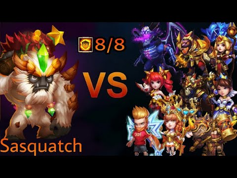 Castle Clash - Sasquatch 8/8 Flame Gaurd Vs Top-10 Heroes😇
