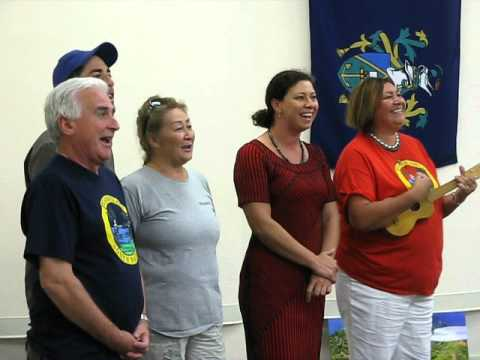 Pitcairn Islanders singing farewell at Bounty-Pitcairn Conference 2012, #2