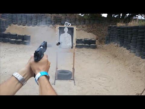 Pistola Imbel TC MD6 .40 atirando no capacete