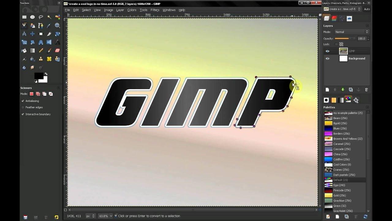 how to use scissor tool gimp