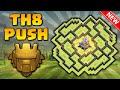 O Melhor Layout de PUSH CV8 + Replays | TH8 Tropy Base Defense | Clash of Clans 2016