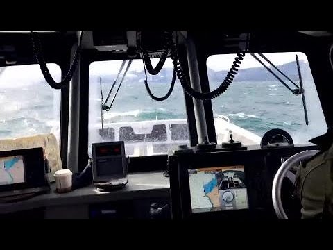 Turn your sound ON: Marine unit boat is tossed around in 4-6 ft swells