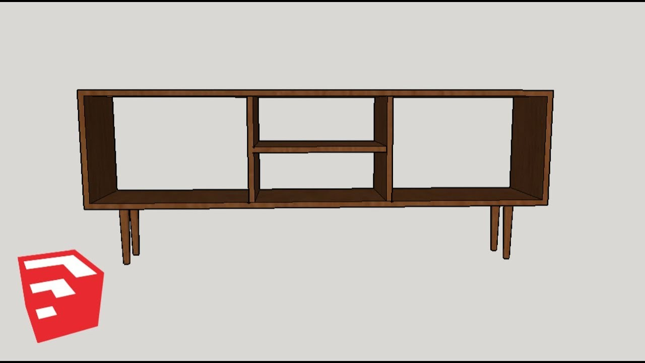 Sketchup Furniture Tutorial // Mid Century Record Player Cabinet
