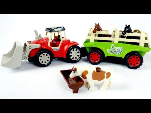 Видео для детей с игрушками - Трактор и животные на ферме