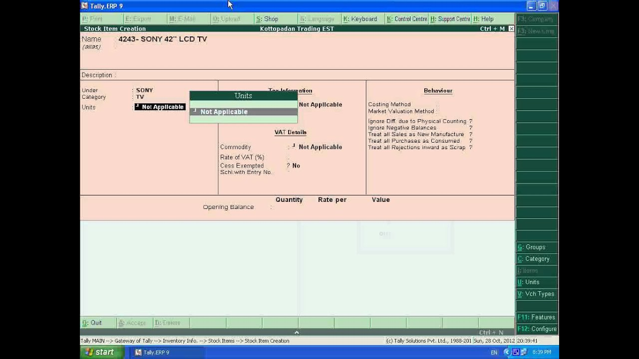 1abe592113a2 Tally. ERP 9 ( PART 8 ) Creation of Stock Items