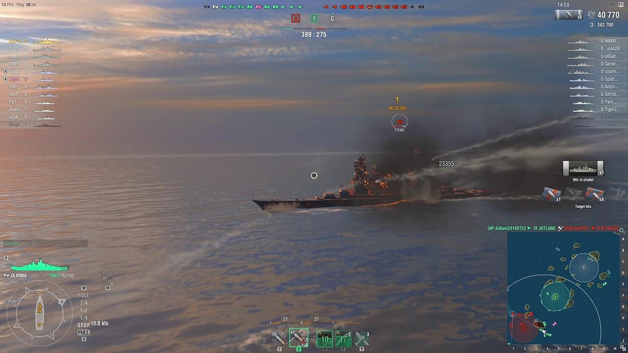 World of Warships USS Iowa Great Play 2 - YouTube