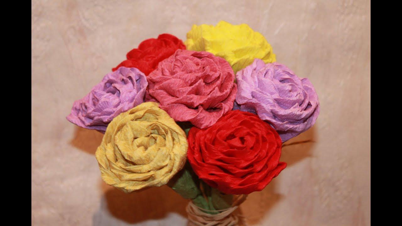 Como hacer flores de papel crepe youtube - Como hacer rosas de papel ...