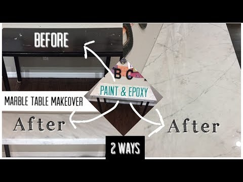 DIY Marble Table Makeover - 2 WAYS | Paint & Epoxy | Countertops | Easy to follow , gorgeous results