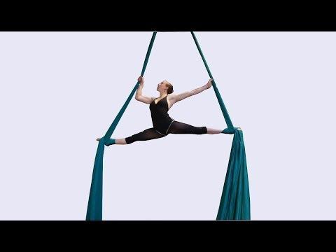 Beautiful aerial silks dancer