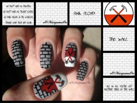Nail Art  The Wall - Pink Floyd  Tutorial.  sc 1 st  YouTube & Nail Art