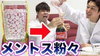 【実験】ミキサーでメントスを粉々にしてコーラに混ぜた結果...