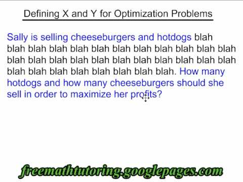 Define X and Y for Optimization Problems