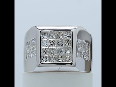 Elegant Invisible Set Princess Diamond Men's Ring in 14k White Gold