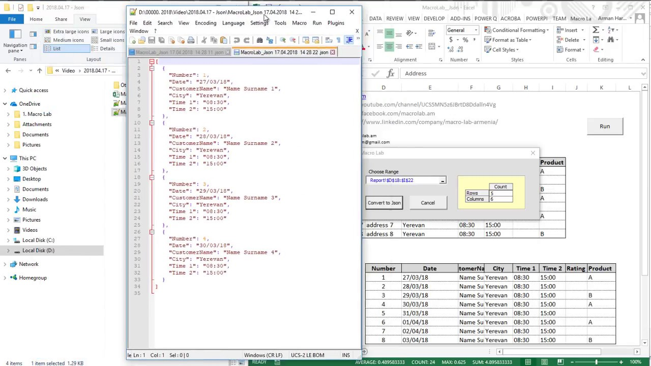 Excel to Json Converter