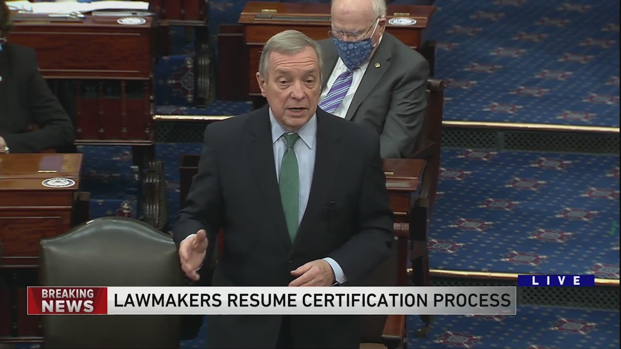 Senator Dick Durbin speaks as certification of presidential election resumes